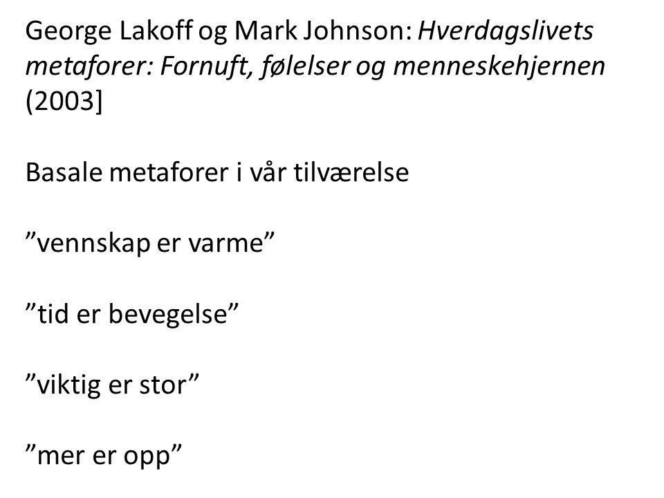 George Lakoff og Mark Johnson: Hverdagslivets metaforer: Fornuft, følelser og menneskehjernen (2003]